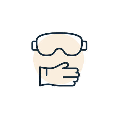 Icona Guanti e occhiali protettivi